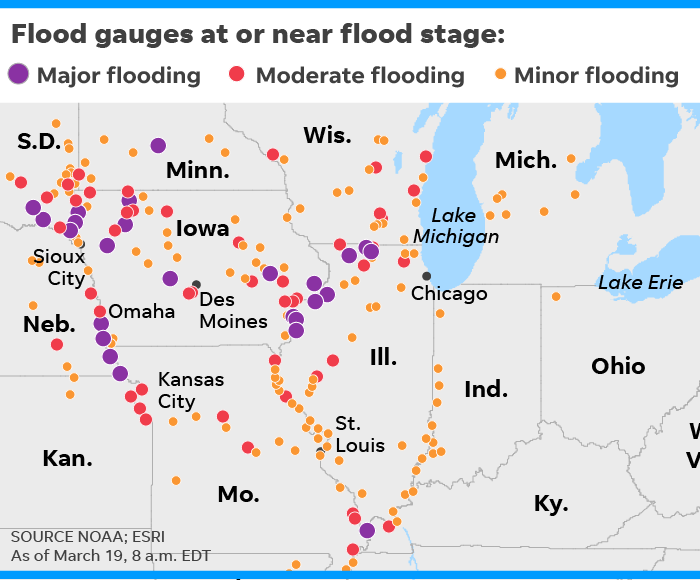 Before and after satellite images show destruction in Nebraska and Iowa after Midwest floods