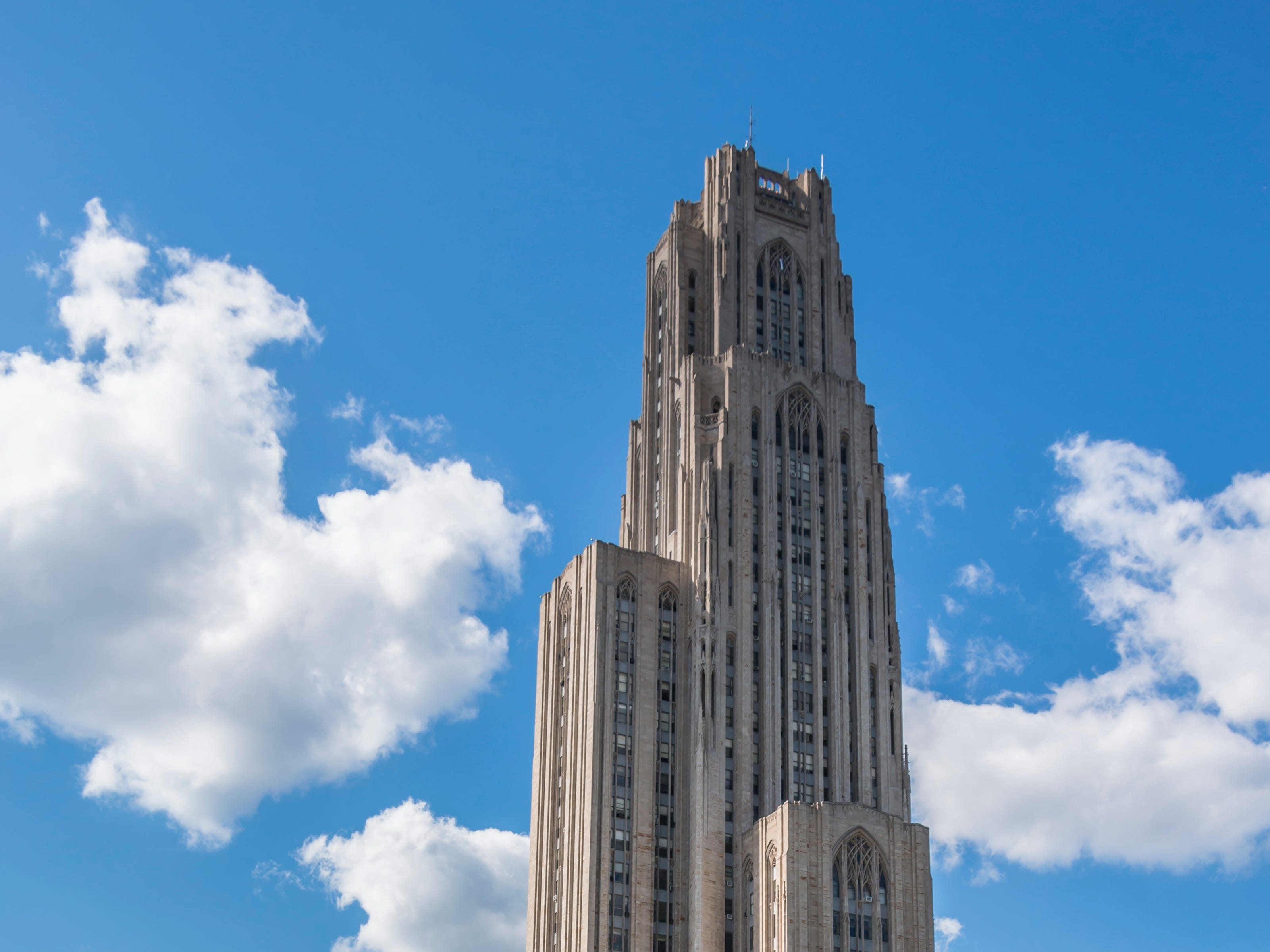 Pennsylvania: The Cathedral of Learning is a 42-story, Gothic revival-style skyscraper on the University of Pittsburgh campus. At 535 feet tall, it is listed on the National Register of Historic Places.