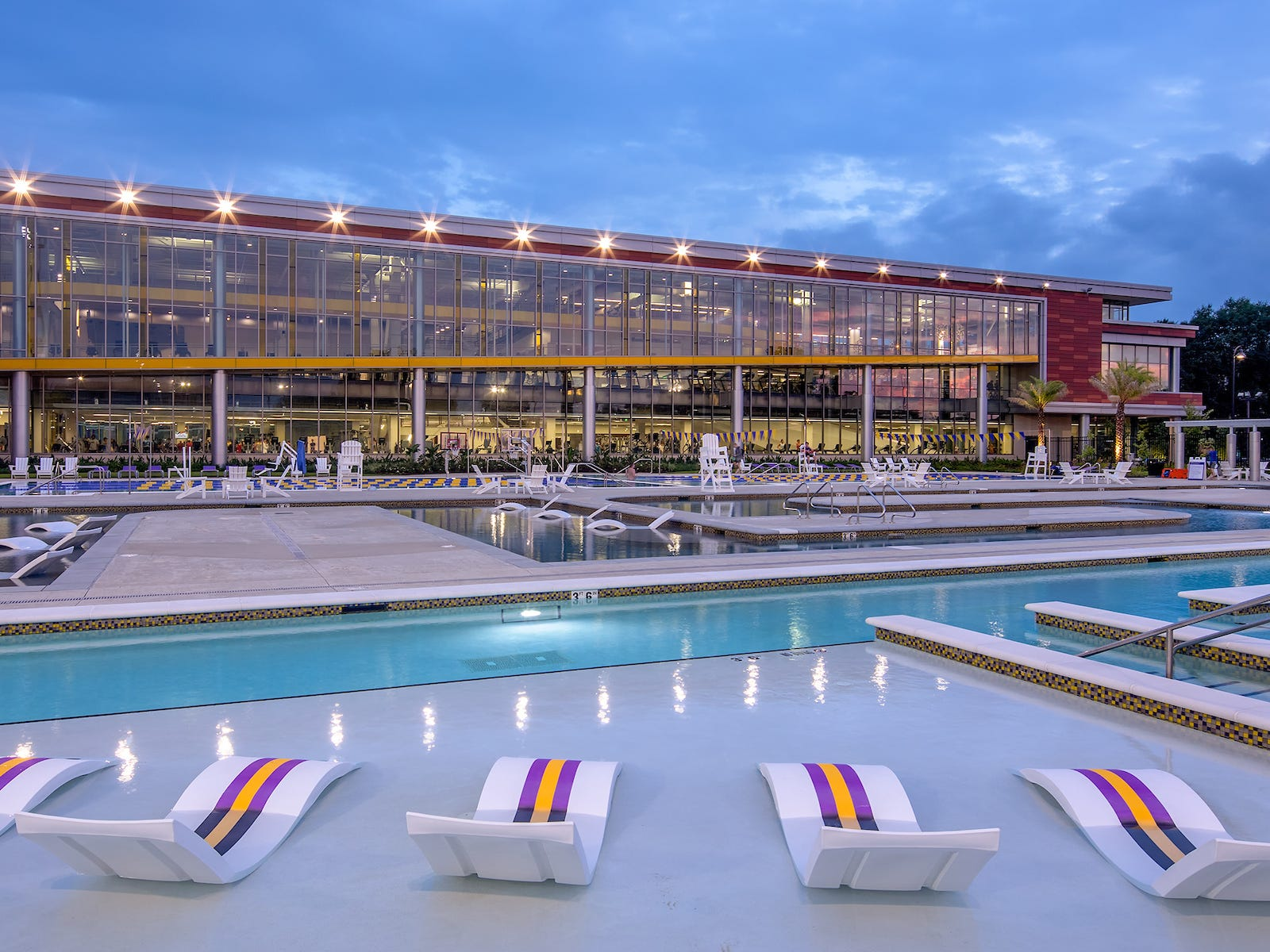 Louisiana: Louisiana State University's Student Recreation Complex includes an outdoor aquatic and adventure center and a leisure pool spelling out the letters LSU.