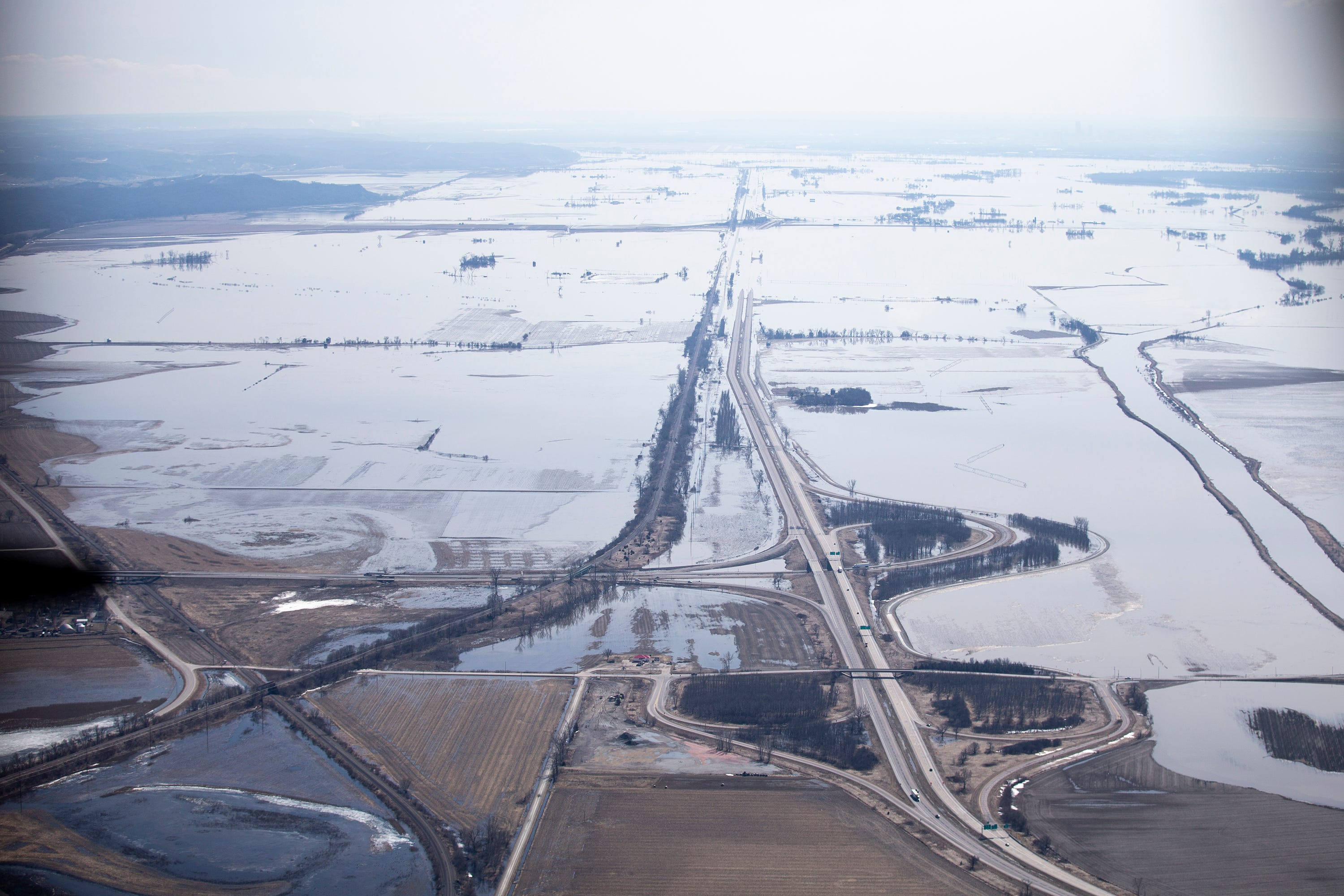 Floodwater from the Missouri River inundate land on the western edge of Iowa on Monday.