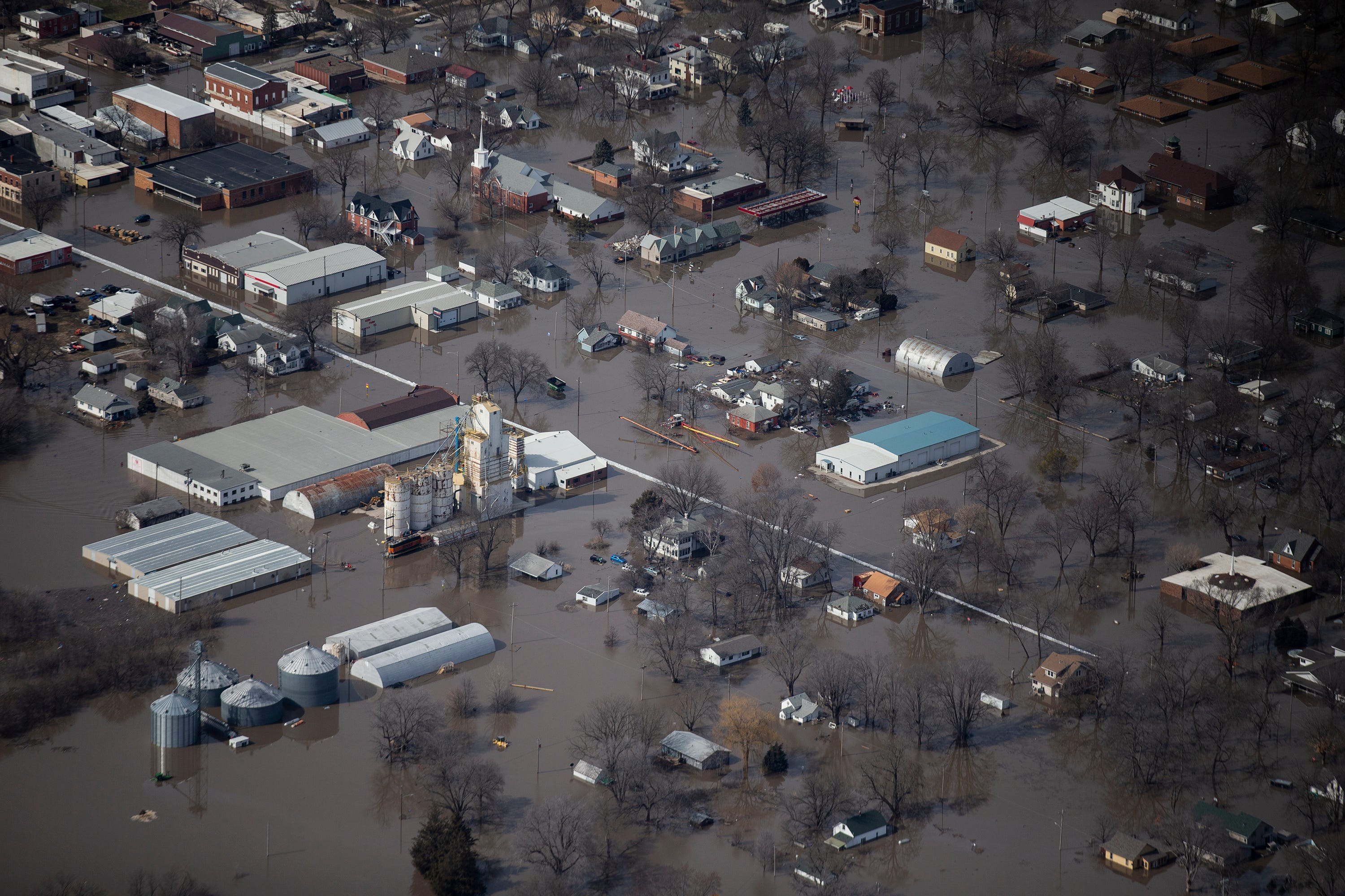 Floodwater from the Missouri River inundates an Iowa town on Monday.