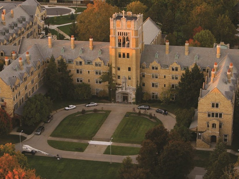 Indiana: Built in 1926, the majestic bell tower, Le Mans Hall, marks the center of the Saint Mary's College campus in Notre Dame. The castle-like residence hall also houses administrative buildings.