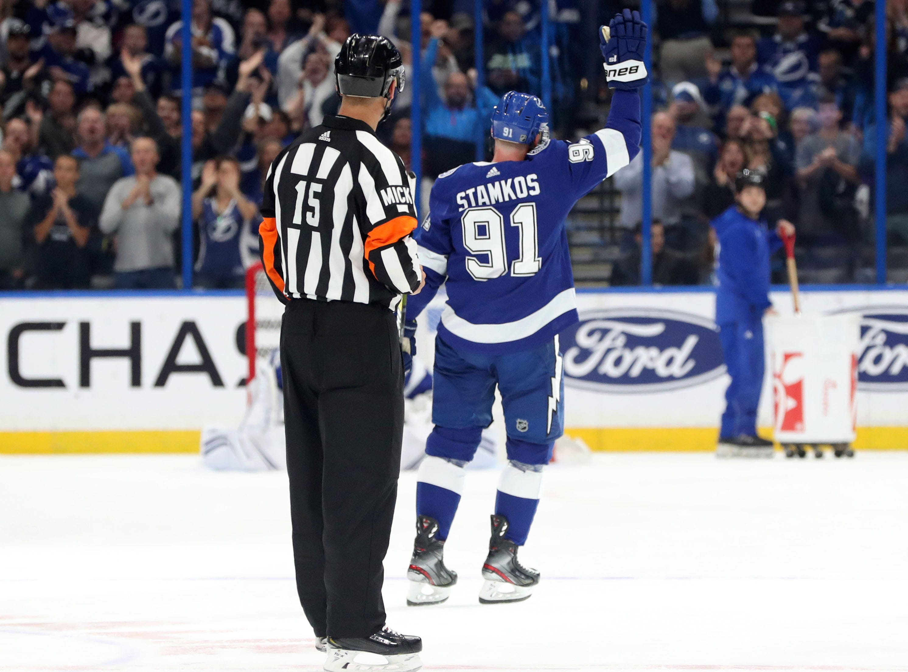March 18: Tampa Bay Lightning center Steven Stamkos salutes the fans after becoming the franchise's all-time leading scorer.