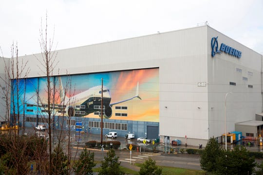 A Boeing 737 MAX 8 is pictured on the exterior of the Boeing Renton Factory in Renton, Washington.