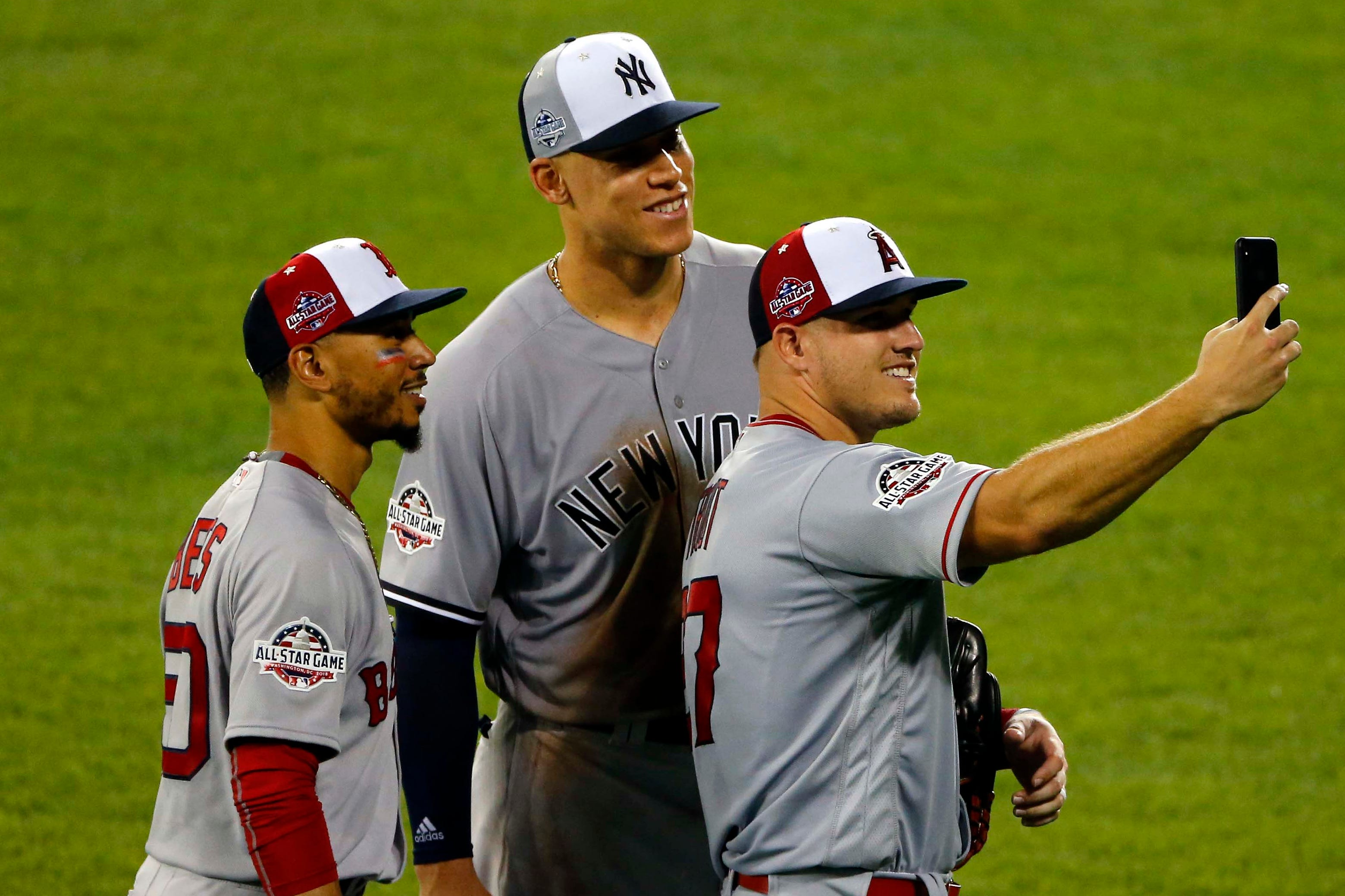 Mookie Betts, Aaron Judge and Mike Trout during the 2018 All-Star Game.
