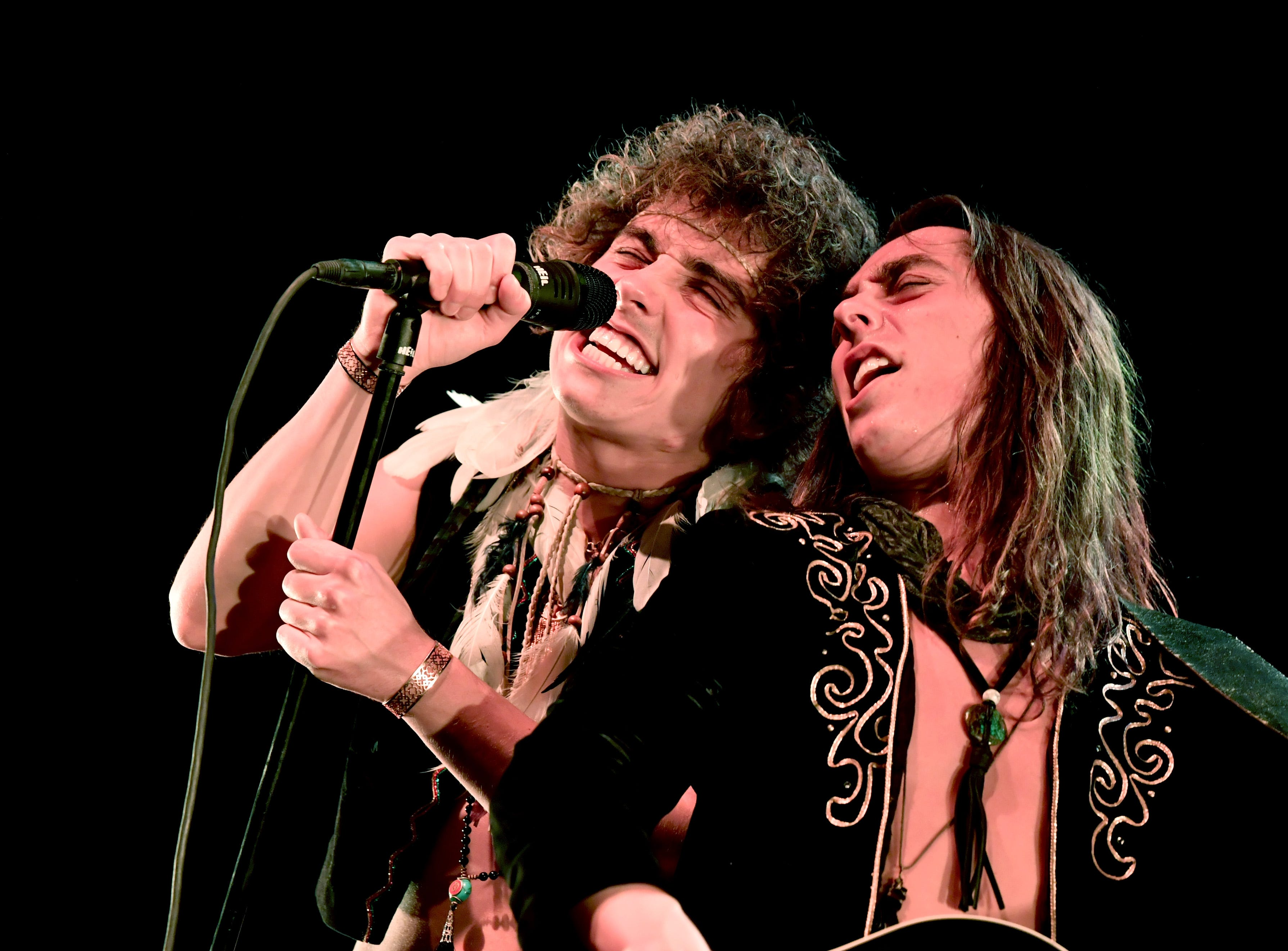 INGLEWOOD, CA - DECEMBER 08:  Josh Kiszka (L) and Jake Kiszka of the band Greta Van Fleet performs on stage during the KROQ Absolut Almost Acoustic Christmas at The Forum on December 8, 2018 in Inglewood, California.  (Photo by Emma McIntyre/Getty Images for KROQ/Entercom) ORG XMIT: 775265850 ORIG FILE ID: 1070249120