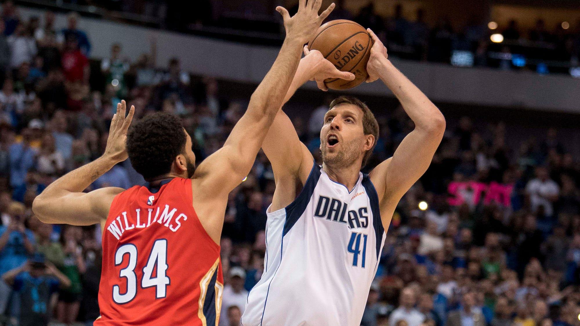 Nhẹ nhàng thực hiện cú ném đậm chất thương hiệu, Dirk Nowiztki trở lại Top 6 tay ghi điểm vĩ đại nhất NBA