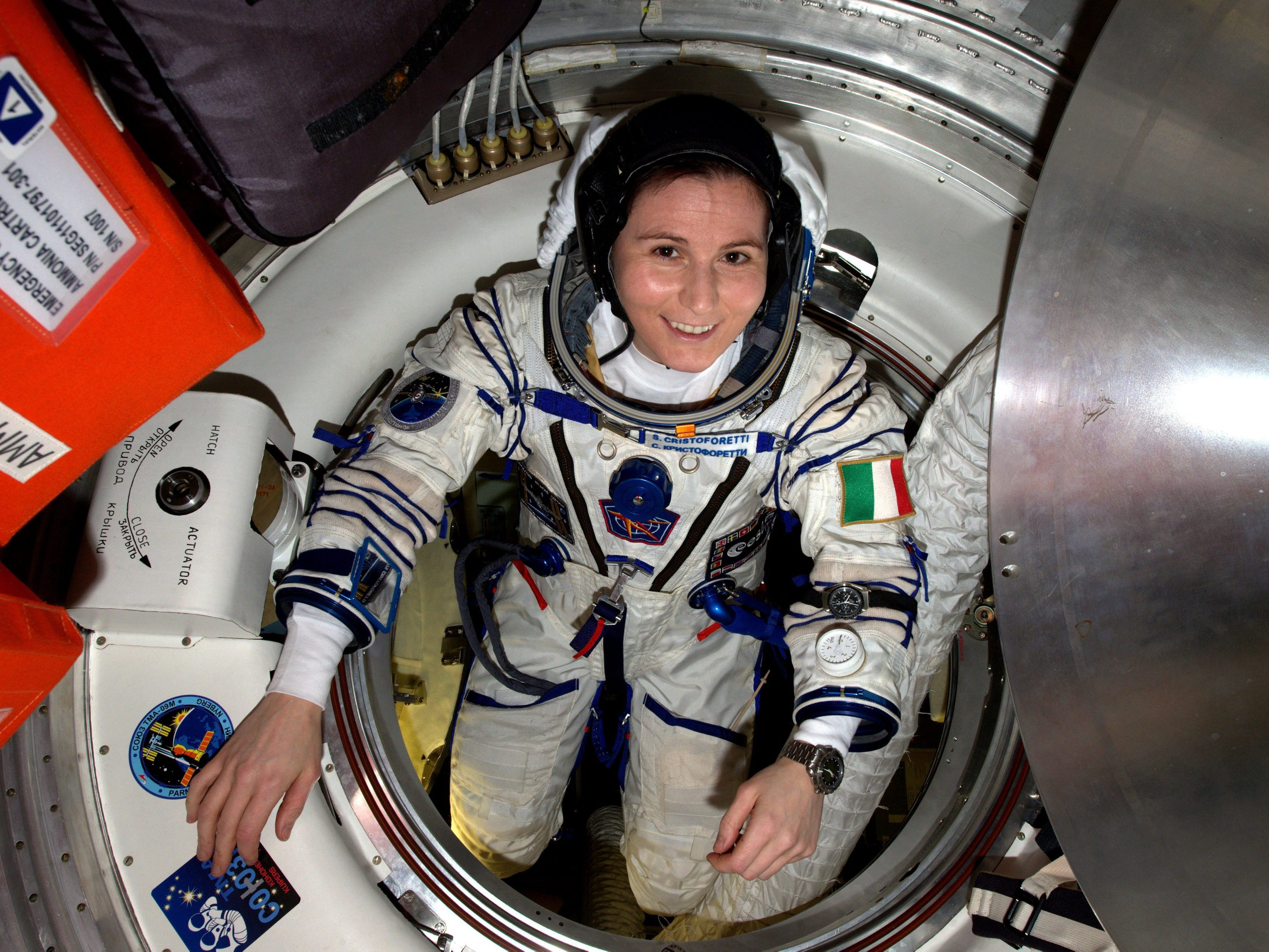 On March 29, 2019,  astronauts Anne McClain and Christina Koch will exit the International Space Station and work outside the spacecraft in the first all female spacewalk.  In this photo,  Space Agency astronaut Samantha Cristoforetti, of Italy, checks her pressure suit in preparation for her crews departure from the International Space Station after 6 1/2 months in space. Since June, 6,  2015, Cristoforetti holds the record for the longest single spaceflight for a woman, a record previously held by NASA astronaut Sunita Williams with 195 days after Expedition 33. Cristoforetti also holds the record for the longest uninterrupted spaceflight of an ESA astronaut, NASA said in its press release.