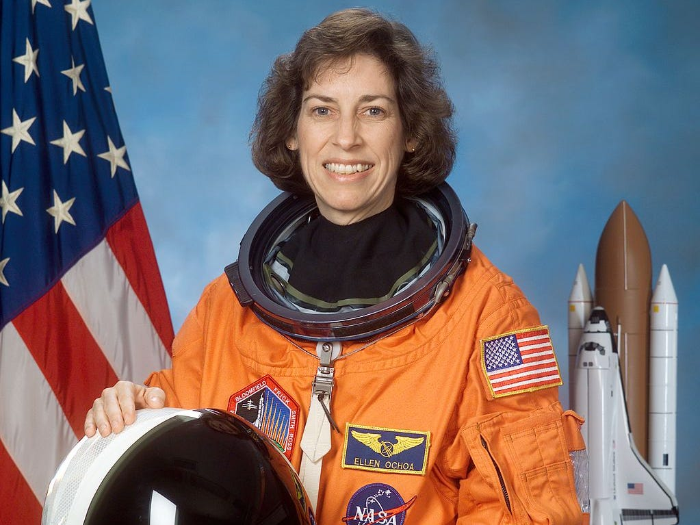 In 1993, Ellen Ochoa became the firstHispanicwoman in the world to go to space when she served on a nine-day STS-56 mission aboard the shuttleDiscovery, logging nearly 1,000 hours in orbit.