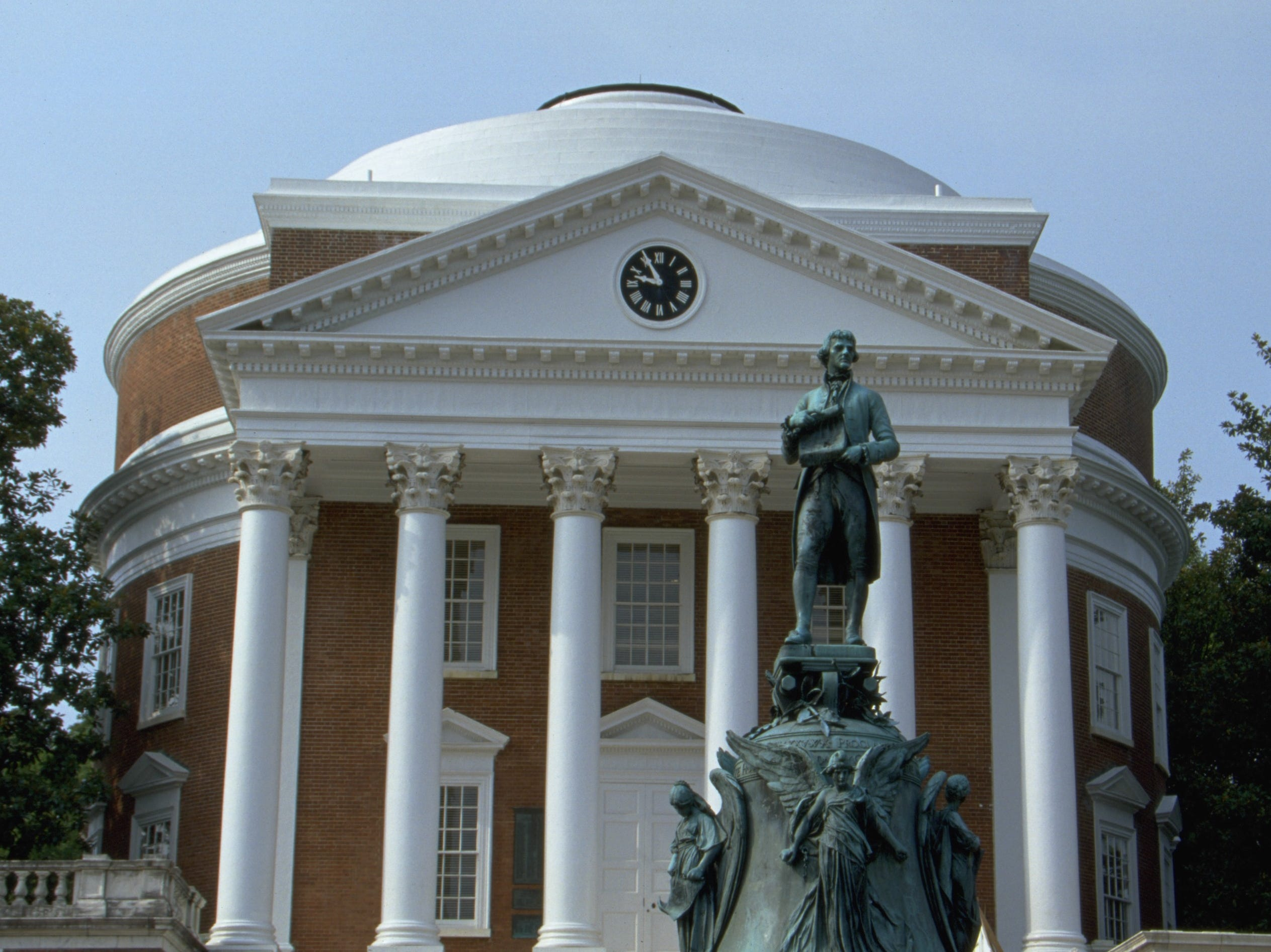 Virginia: The Rotunda, a half-scale interpretation of the Pantheon in Rome, is a signature landmark of the University of Virginia, and its Dome Room originally housed the University library.
