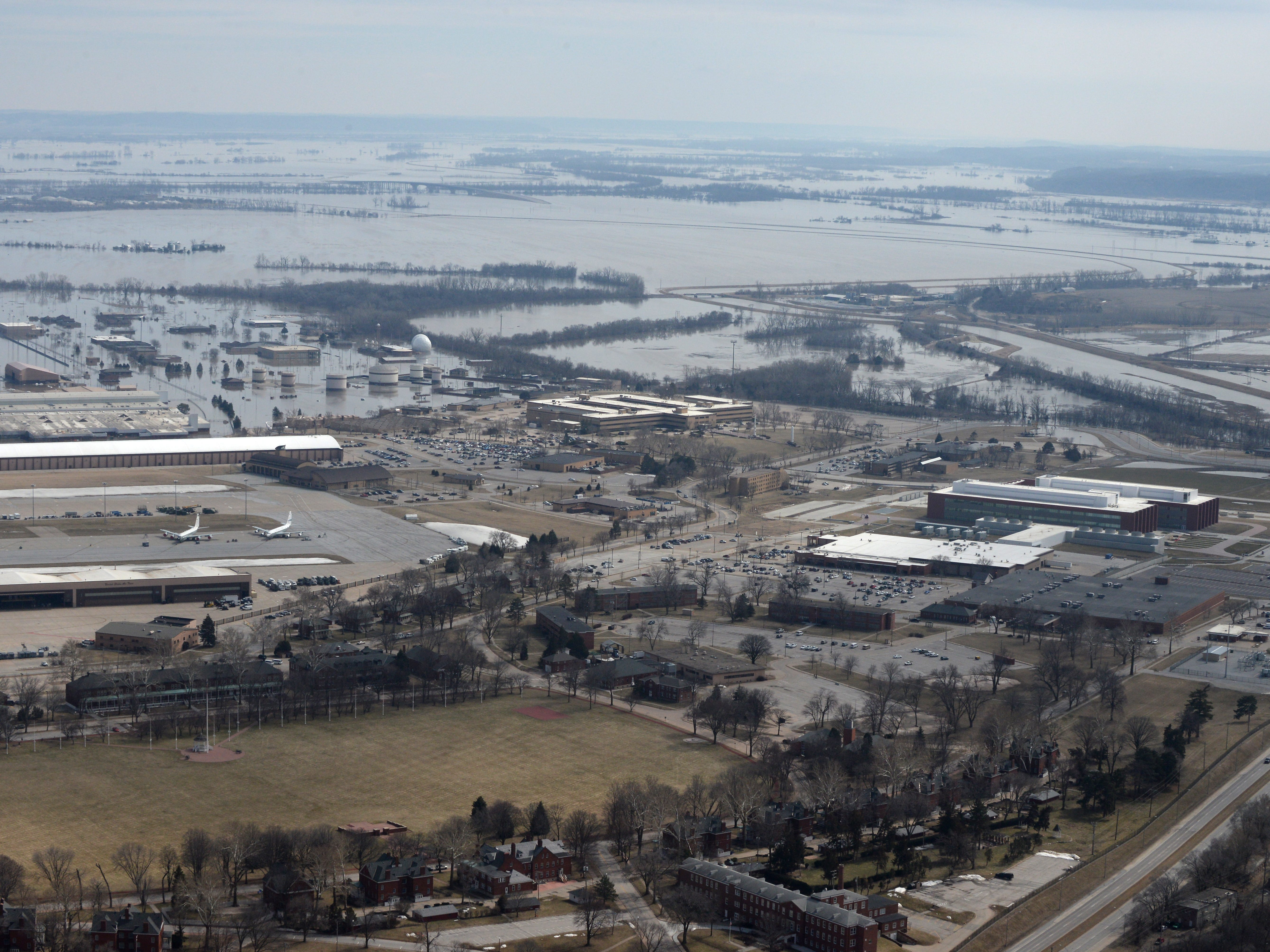 Offutt Air Force Base and the surrounding areas affected by flood waters in  Bellevue, Neb. on March 17, 2019.