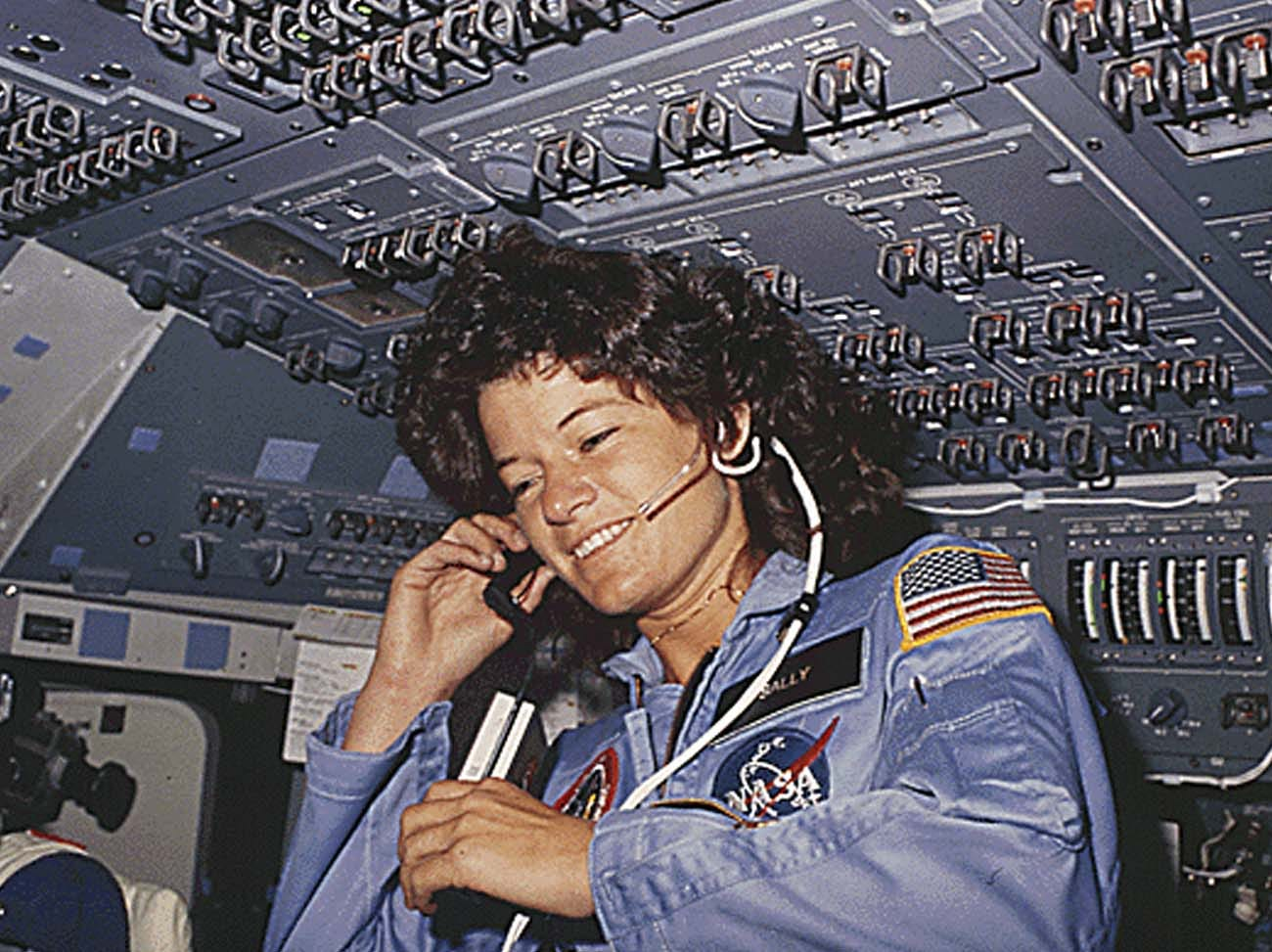 America's first woman astronaut Sally Ride,  communicates with ground controllers from the flight deck during the six-day space mission of the Challenger. Ride, the first US woman to fly in space, died on July 23, 2012 after a 17-month battle with pancreatic cancer, her foundation announced. She was 61. Ride first launched into space in 1983, on the seventh US space shuttle mission.