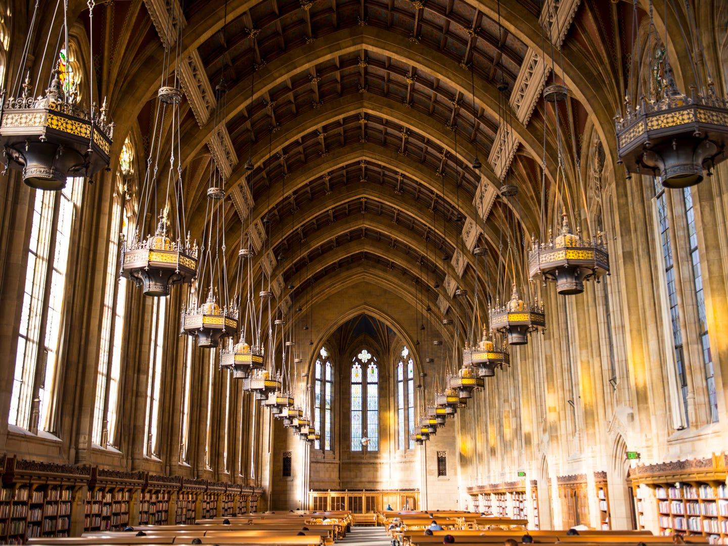 Washington: The famous reading room in Suzzallo Library at the University of Washington.