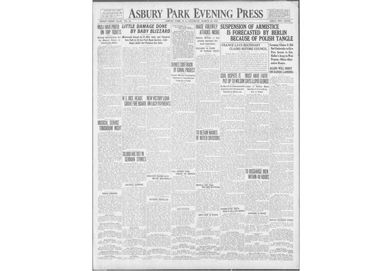 Asbury Park Press front page news, March 29, 1919