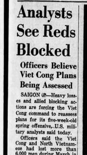 Officers believe Viet Cong Plans being Assessed