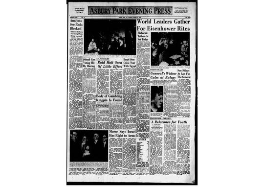 Asbury Park Press front page news, March 31, 1969