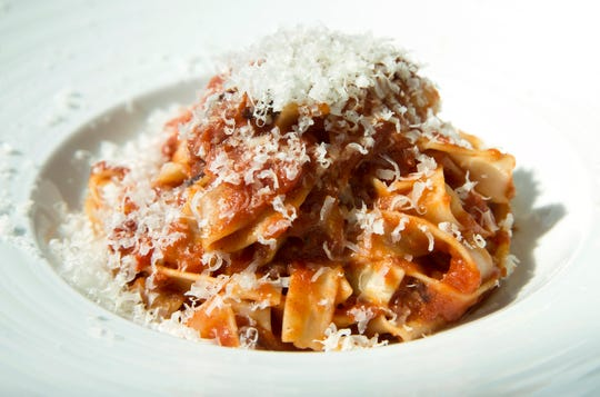 Tagliatelle amatriciana with pancetta, tomato and pecorino Romano at Blu Grotto Ristorante in Oceanport.