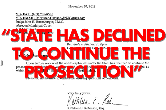 Atlantic County Prosecutor's Office dismissed the charge against Ryan.