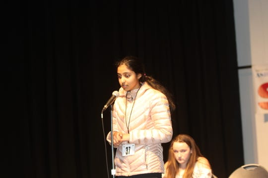 Sharvani Vadlamani, a student at Crossroads South Middle School in Monmouth Junction, is shown in the final rounds of the spelling bee on March 19, 2019, at Monmouth University.