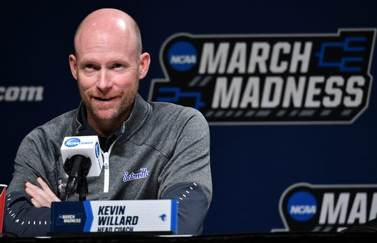 Seton Hall Pirates head coach Kevin Willard talks to the media during practice day before the first round of the 2019 NCAA Tournament