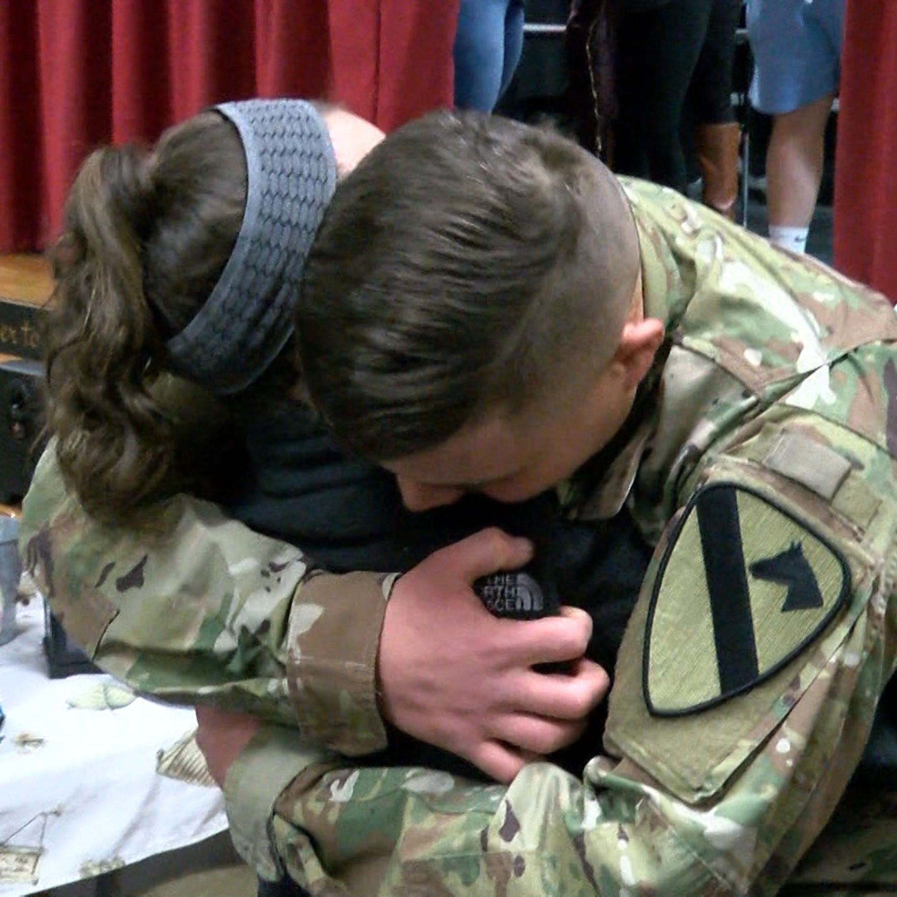Sister in tears over soldier brother's surprise at Brick middle school