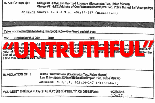 """Musser would later be accused of being  """"untruthful in a special report and in an oral interview with internal affairs officers"""" on 9/9/16 and 9/29/16"""