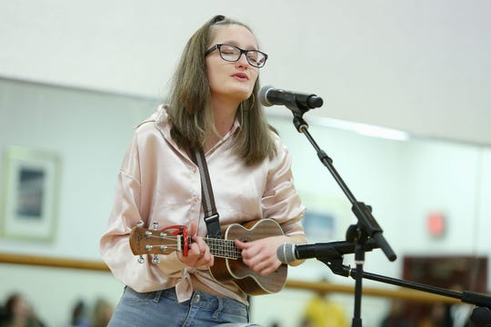 """Samantha Jean Haase, 15, of Waldwick rehearses Miley Cyrus' """"The Climb"""" for the Garden of Dream Talent Show."""