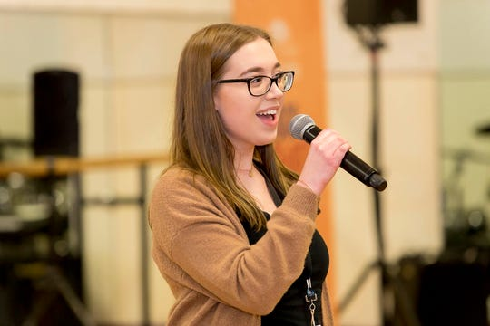 Jenna Waldron, 15, of Logan Township rehearses for the Garden of Dreams Talent Show at Radio City Music Hall in New York City.