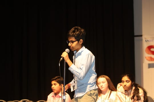 Navneeth Murali, a student at Woodrow Wilson Middle School in Edison, is shown March 19, 2019, in the final round of the Spelldown Regional Spelling Bee at Monmouth University.