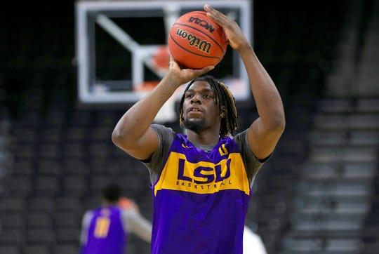 LSU Tigers forward Naz Reid (0) during practice day before the first round of the 2019 NCAA Tournament at Jacksonville Veterans Memorial Arena.