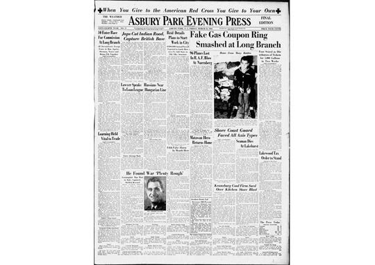Asbury Park Press front page March 31,1944.