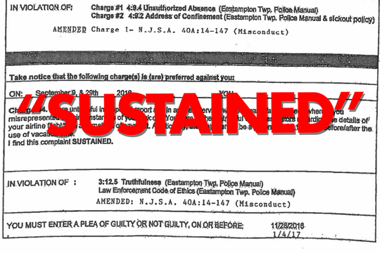 Musser's department sustained the charge he was untruthful, according to a document that shows this date. The document also shows it was amended on 12/28/16. It's unclear what part was amended.
