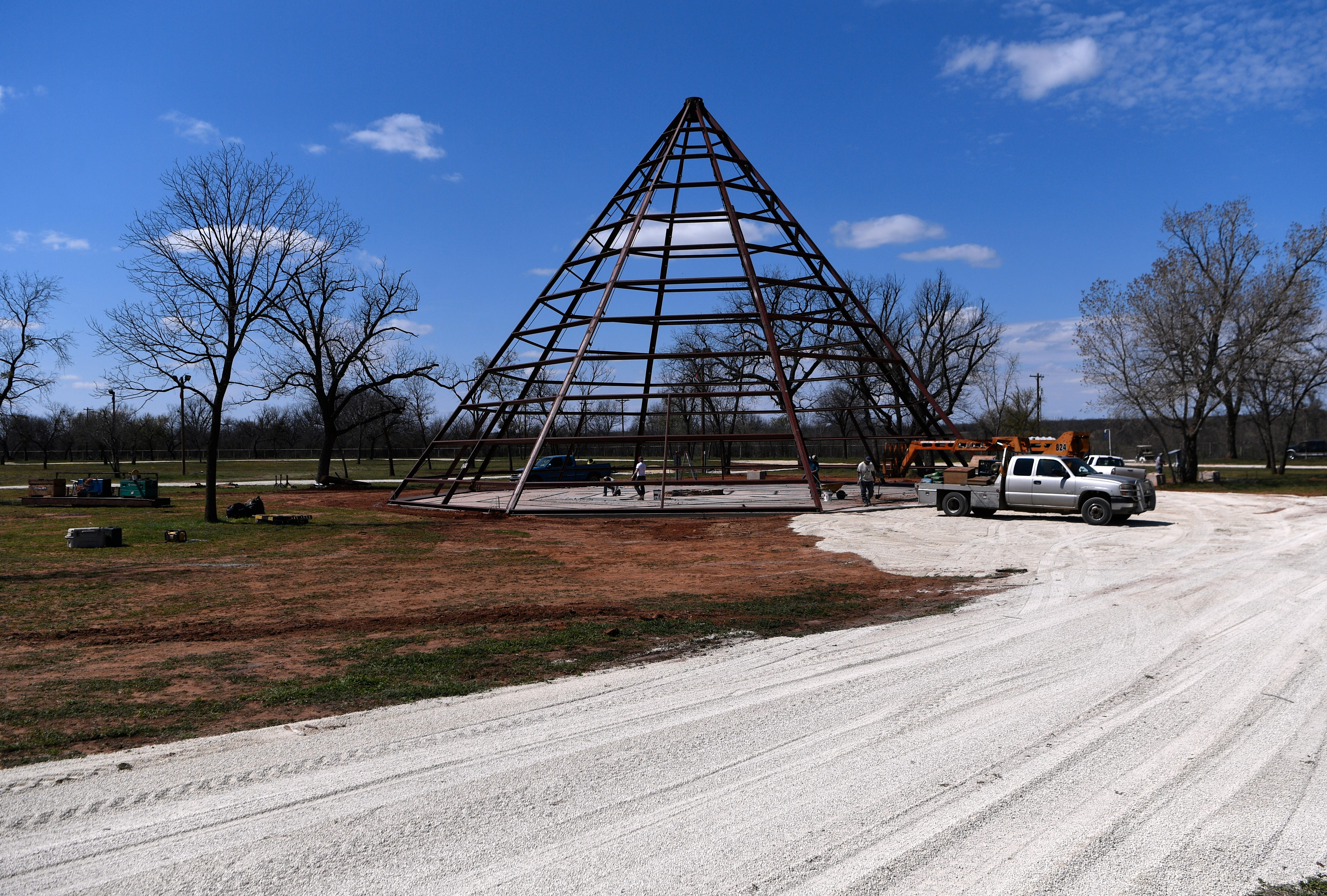 The steel tipi under construction Wednesday at the Back Porch of Texas. Plans are for the building to be eventually covered in corrugated tin.