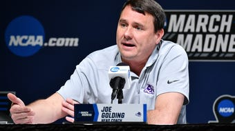 ACU's Joe Golding was part head men's basketball coach and part entertainer at his NCAA Tournament press conference on Wednesday in Jacksonville.