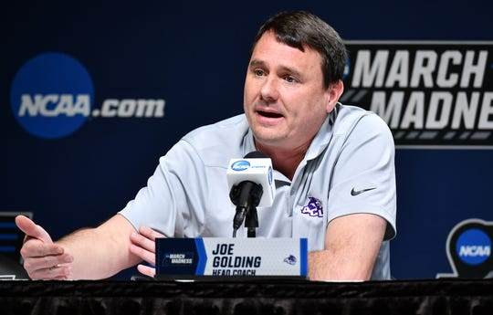 Mar 20, 2019; Jacksonville, FL, USA; Abilene Christian Wildcats head coach Joe Golding talks to the media during practice day before the first round of the 2019 NCAA Tournament at Jacksonville Veterans Memorial Arena. Mandatory Credit: John David Mercer-USA TODAY Sports