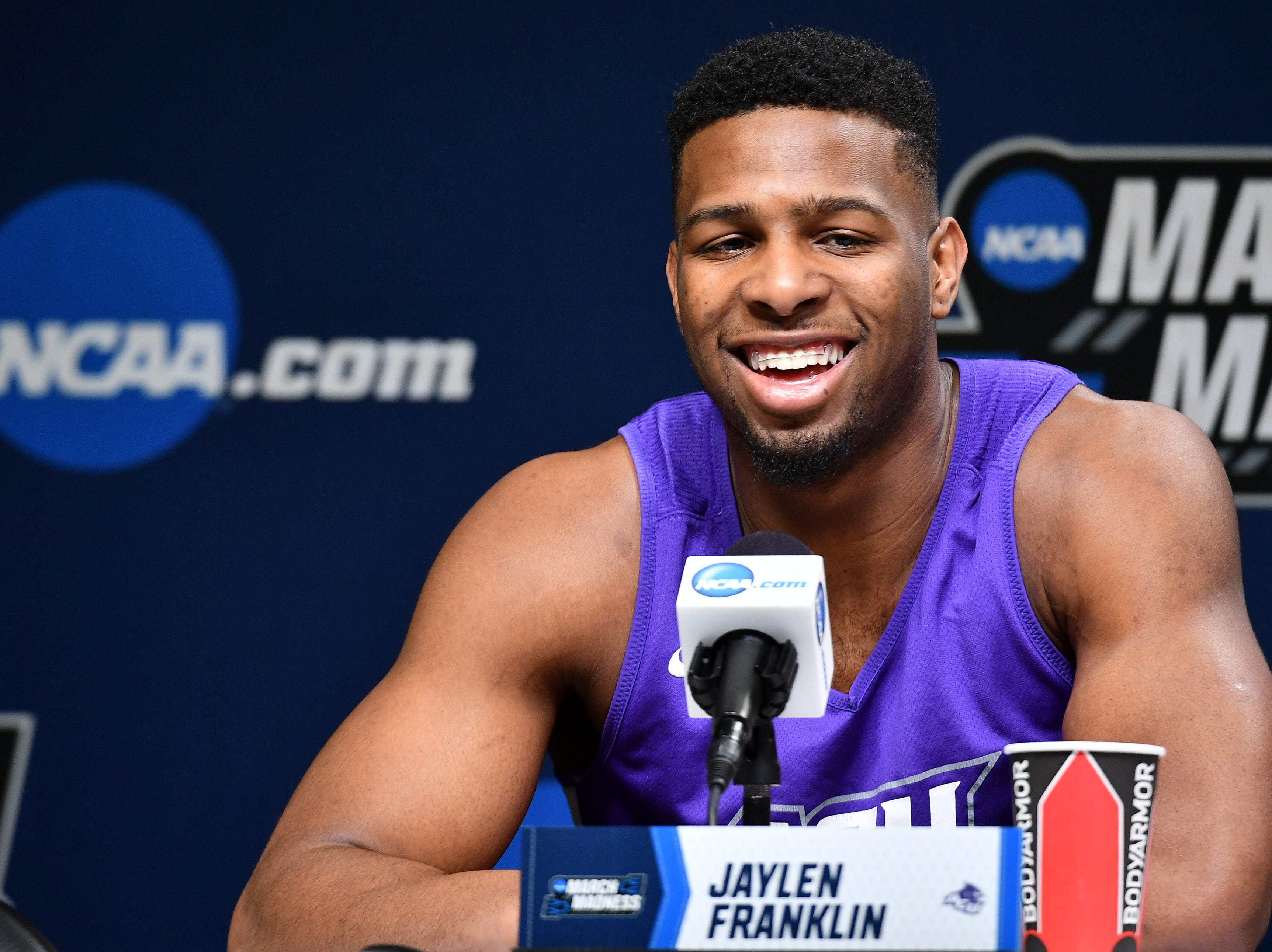 Mar 20, 2019; Jacksonville, FL, USA; Abilene Christian Wildcats guard Jaylen Franklin (0) talks to the media during practice day before the first round of the 2019 NCAA Tournament at Jacksonville Veterans Memorial Arena. Mandatory Credit: John David Mercer-USA TODAY Sports
