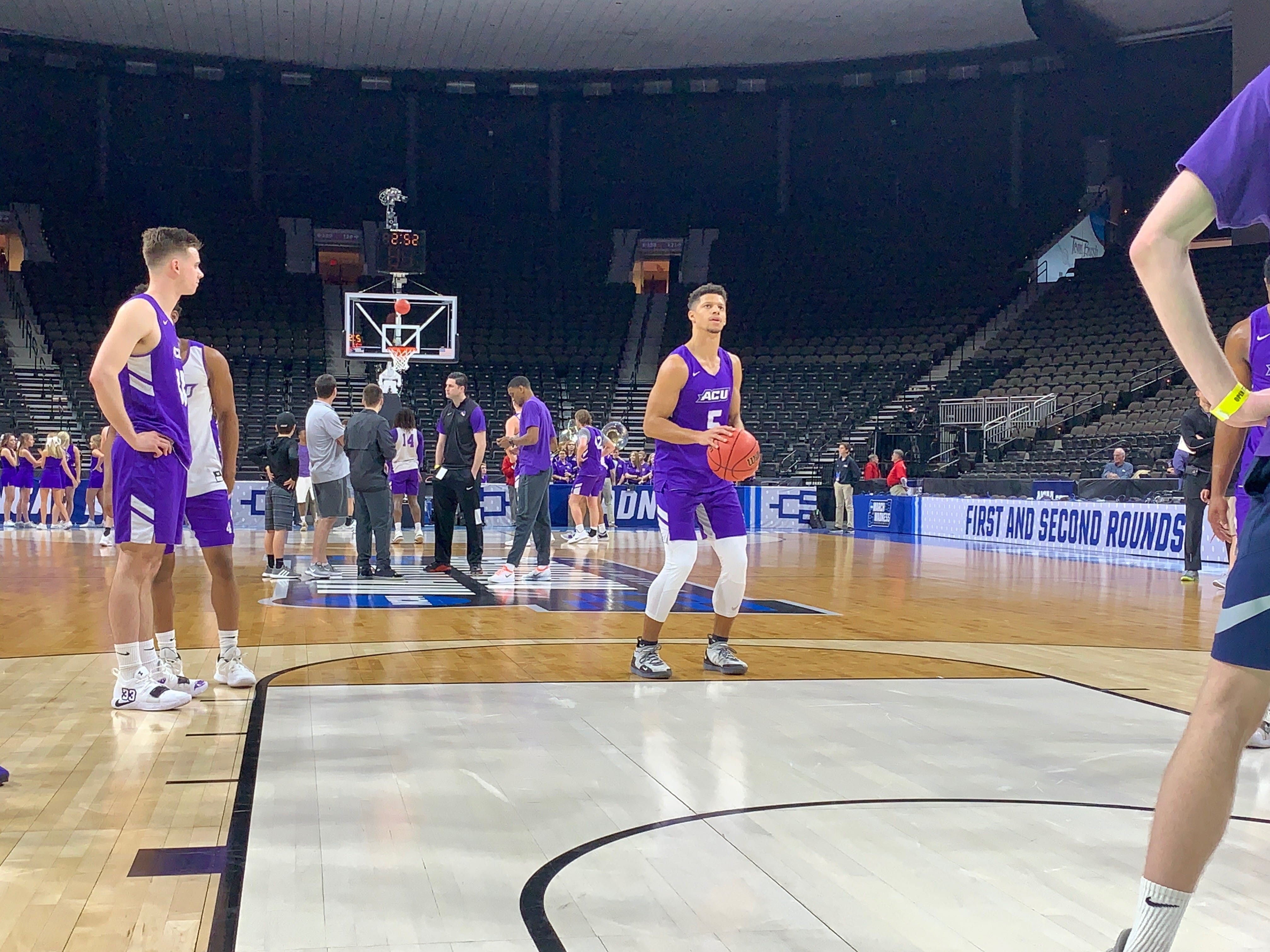 Abilene Christian's Payten Ricks (5) sets to take a free throw during practice at VyStar Veterans Memorial Arena in Jacksonville on Wednesday, March 20. ACU plays Kentucky in the NCAA Tournament first round on Thursday night.