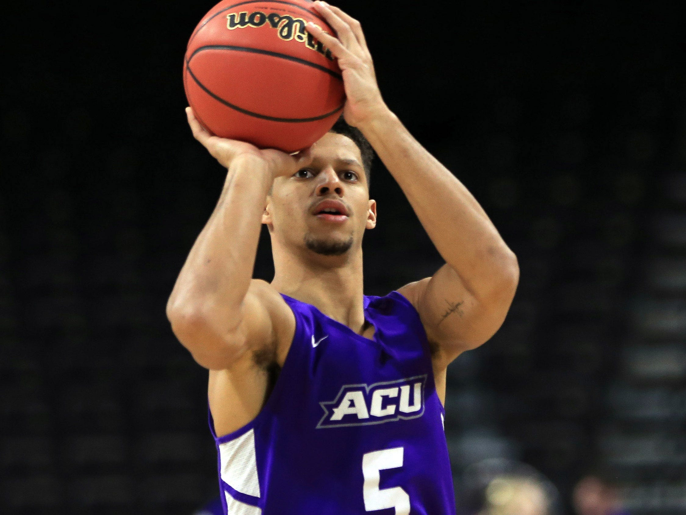 Mar 20, 2019; Jacksonville, FL, USA; Abilene Christian Wildcats guard Payten Ricks (5) during practice day before the first round of the 2019 NCAA Tournament at Jacksonville Veterans Memorial Arena. Mandatory Credit: Matt Stamey-USA TODAY Sports