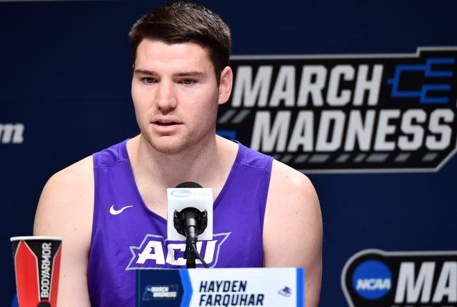 Mar 20, 2019; Jacksonville, FL, USA; Abilene Christian Wildcats forward Hayden Farquhar (15) talks to the media during practice day before the first round of the 2019 NCAA Tournament at Jacksonville Veterans Memorial Arena. Mandatory Credit: John David Mercer-USA TODAY Sports