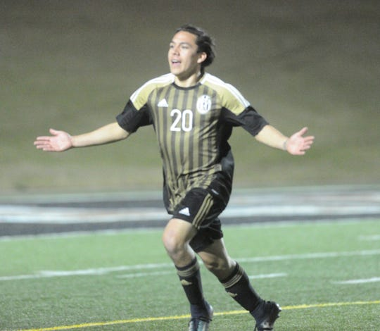 Abilene High's Abram Estrada celebrates after scoring a goal against Richland in the Eagles' 5-0 win Tuesday, March 19, 2019, at Shotwell Stadium.