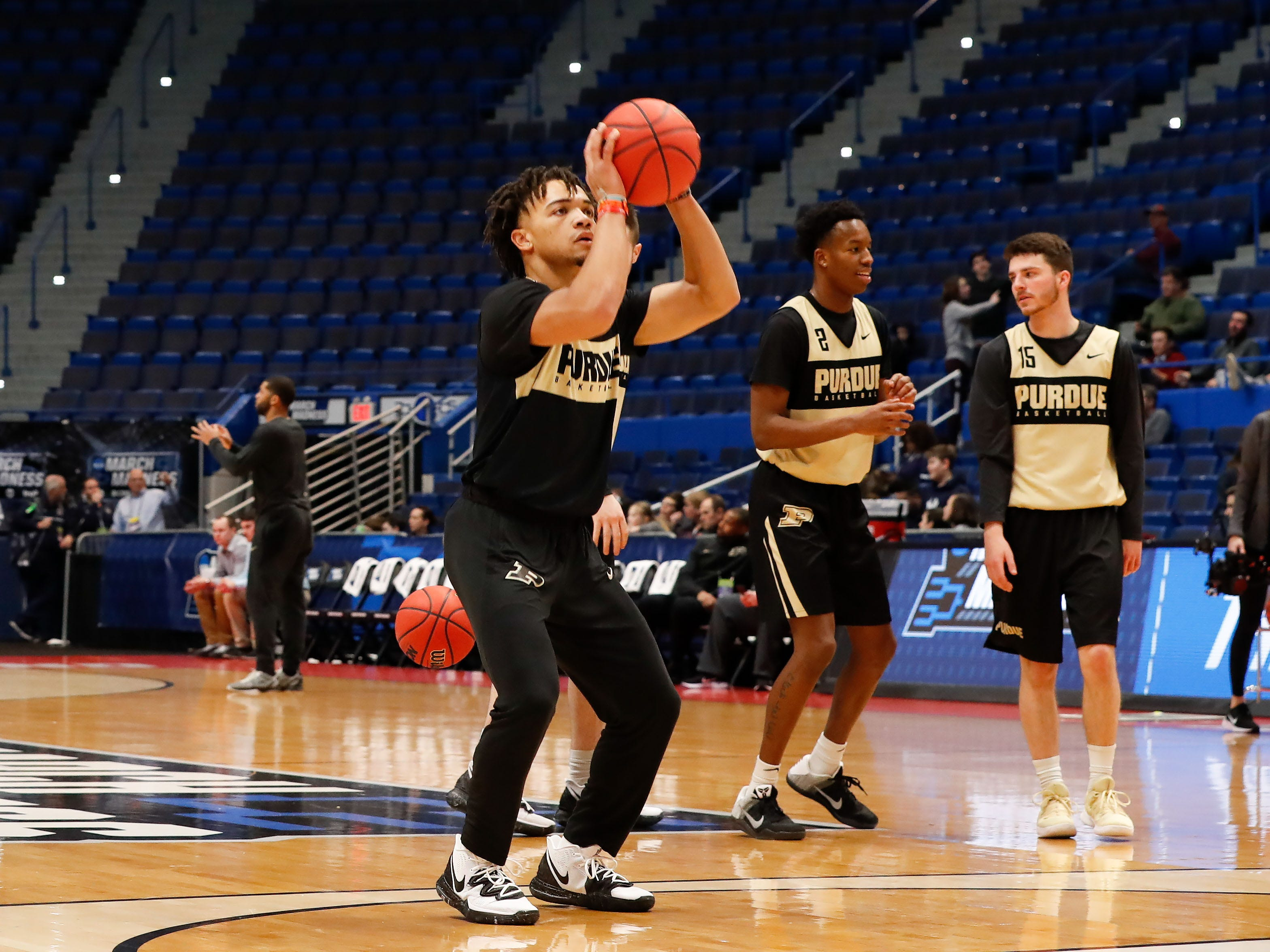 Mar 20, 2019; Hartford, CT, USA; Purdue Boilermakers guard Carsen Edwards (3) attempts a shot during practice before the first round of the 2019 NCAA Tournament at XL Center. Mandatory Credit: David Butler II-USA TODAY Sports