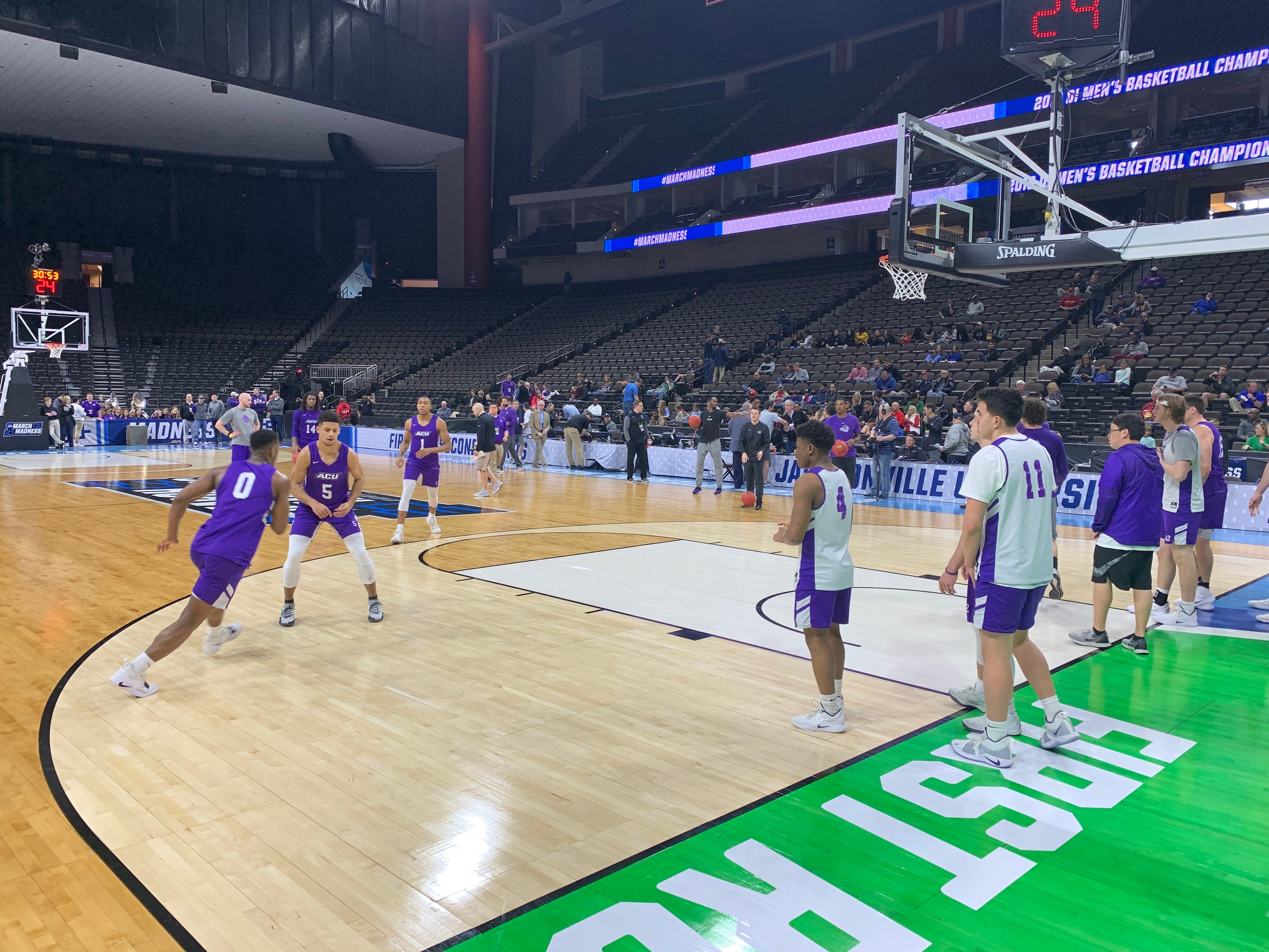 The ACU men's basketball team practices at VyStar Veterans Memorial Arena in Jacksonville on Wednesday, March 20. ACU plays Kentucky in the NCAA Tournament first round on Thursday night.