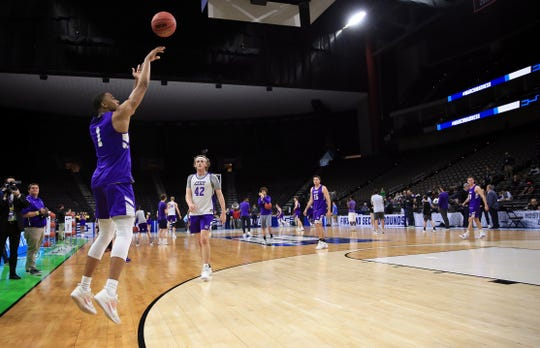 Mar 20, 2019; Jacksonville, FL, USA; Abilene Christian Wildcats forward Jaren Lewis (1) shoots during practice day before the first round of the 2019 NCAA Tournament at Jacksonville Veterans Memorial Arena. Mandatory Credit: Matt Stamey-USA TODAY Sports
