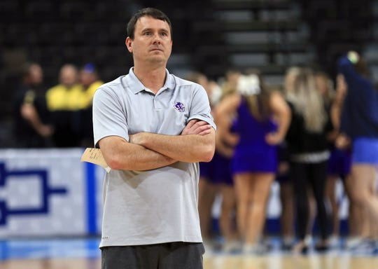 Mar 20, 2019; Jacksonville, FL, USA; Abilene Christian Wildcats head coach Joe Golding during practice day before the first round of the 2019 NCAA Tournament at Jacksonville Veterans Memorial Arena. Mandatory Credit: Matt Stamey-USA TODAY Sports