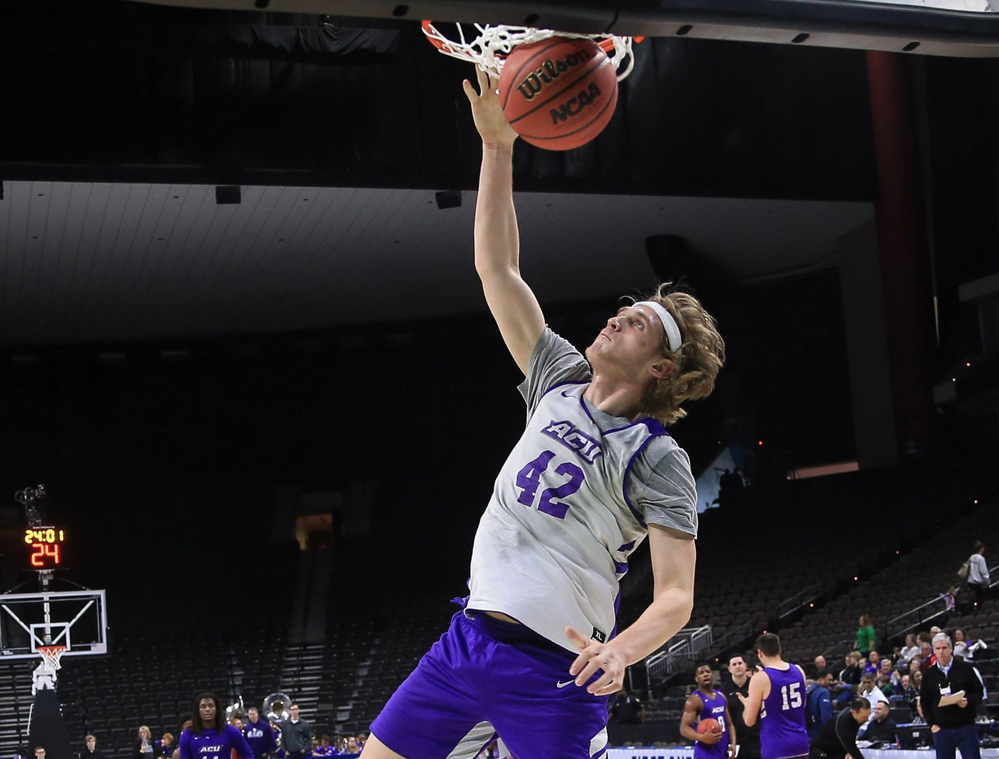 Mar 20, 2019; Jacksonville, FL, USA; Abilene Christian Wildcats forward Clay Gayman (42) during practice day before the first round of the 2019 NCAA Tournament at Jacksonville Veterans Memorial Arena. Mandatory Credit: Matt Stamey-USA TODAY Sports