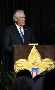 Former Secretary of State and energy company executive Rex Tillerson decried the polarization of America during his speech Tuesday, March 19, 2019, at the Boy Scouts of America Texas Trails Council dinner that honored his sister and brother-in-law, Rae Ann and Lee Hamilton.