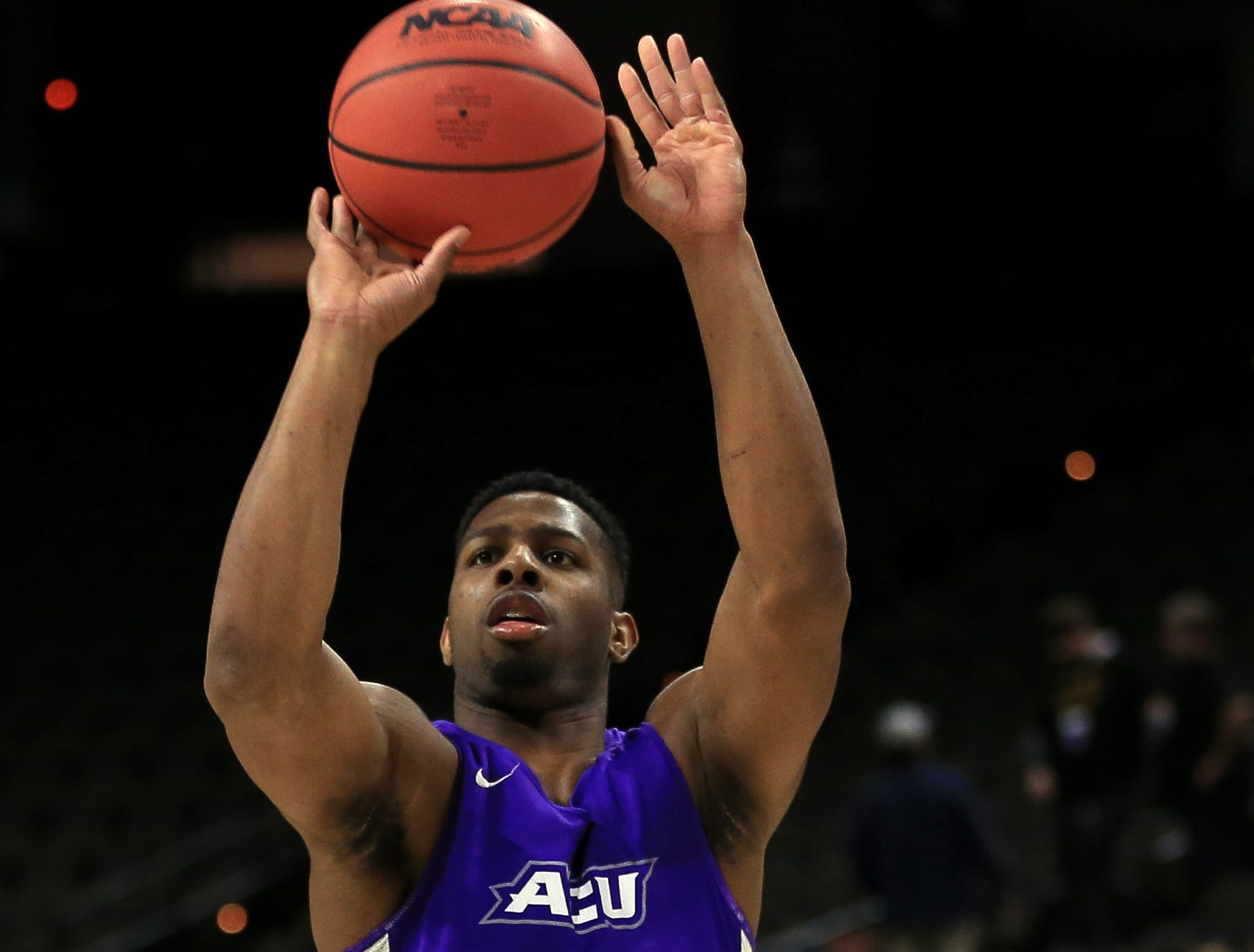 Mar 20, 2019; Jacksonville, FL, USA; Abilene Christian Wildcats guard Jaylen Franklin (0) during practice day before the first round of the 2019 NCAA Tournament at Jacksonville Veterans Memorial Arena. Mandatory Credit: Matt Stamey-USA TODAY Sports