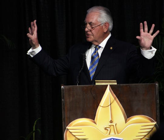 Former Secretary of State and energy executive Rex Tillerson talks about the traits of Boy Scouts that would be helpful to youths today during his speech Tuesday evening to the crowd at the Texas Trails Council of Boy Scouts of America at the Abilene Convention Center. Honored were his sister and brother-in-law, Rae Ann and Lee Hamilton.