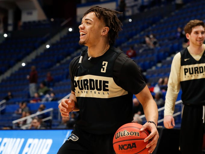 Mar 20, 2019; Hartford, CT, USA; Purdue Boilermakers guard Carsen Edwards (3) laughs during practice before the first round of the 2019 NCAA Tournament at XL Center. Mandatory Credit: David Butler II-USA TODAY Sports