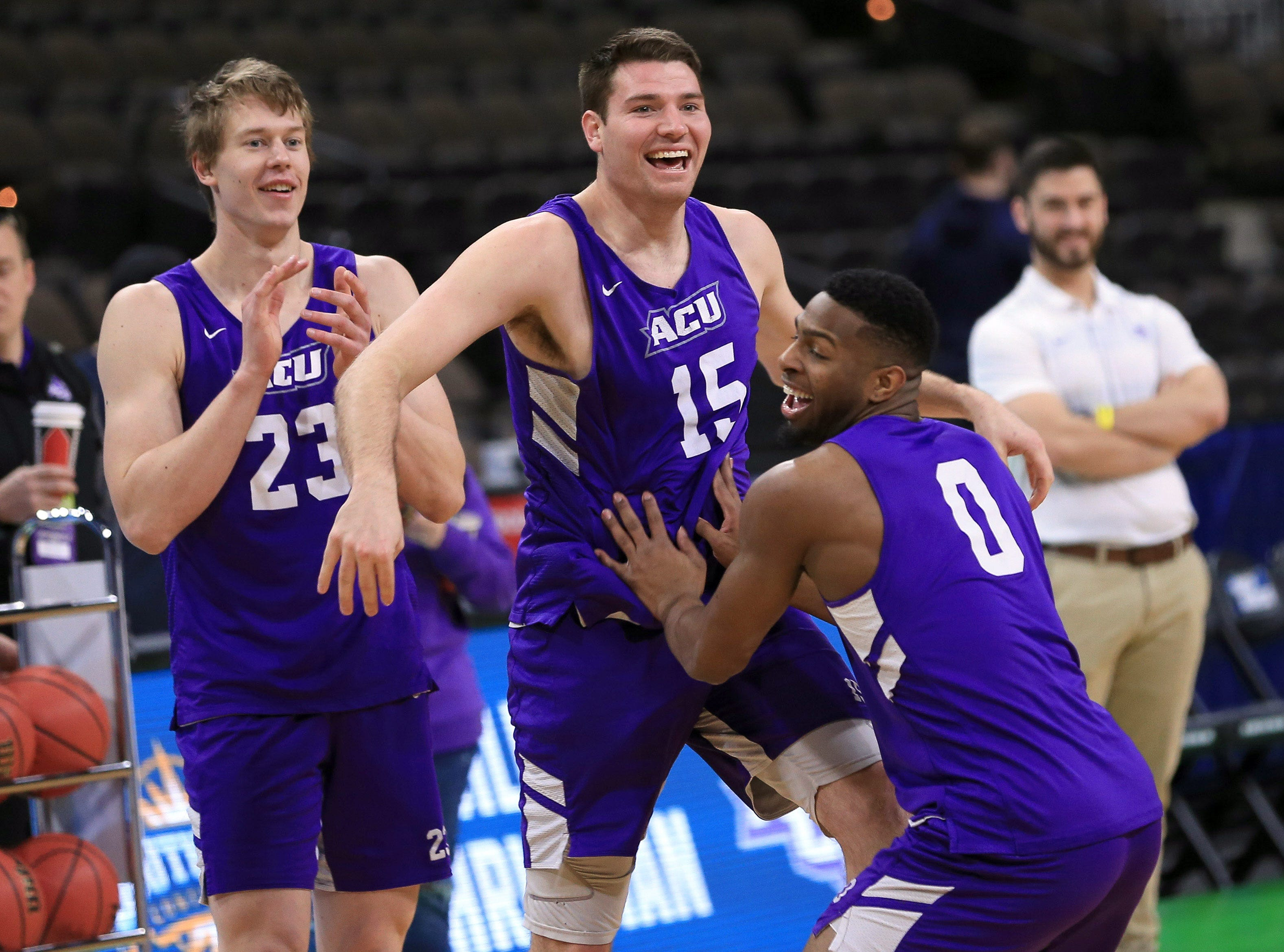 Mar 20, 2019; Jacksonville, FL, USA; Abilene Christian Wildcats forward Hayden Howell (23) and forward Hayden Farquhar (15) and guard Jaylen Franklin (0) during practice day before the first round of the 2019 NCAA Tournament at Jacksonville Veterans Memorial Arena. Mandatory Credit: Matt Stamey-USA TODAY Sports
